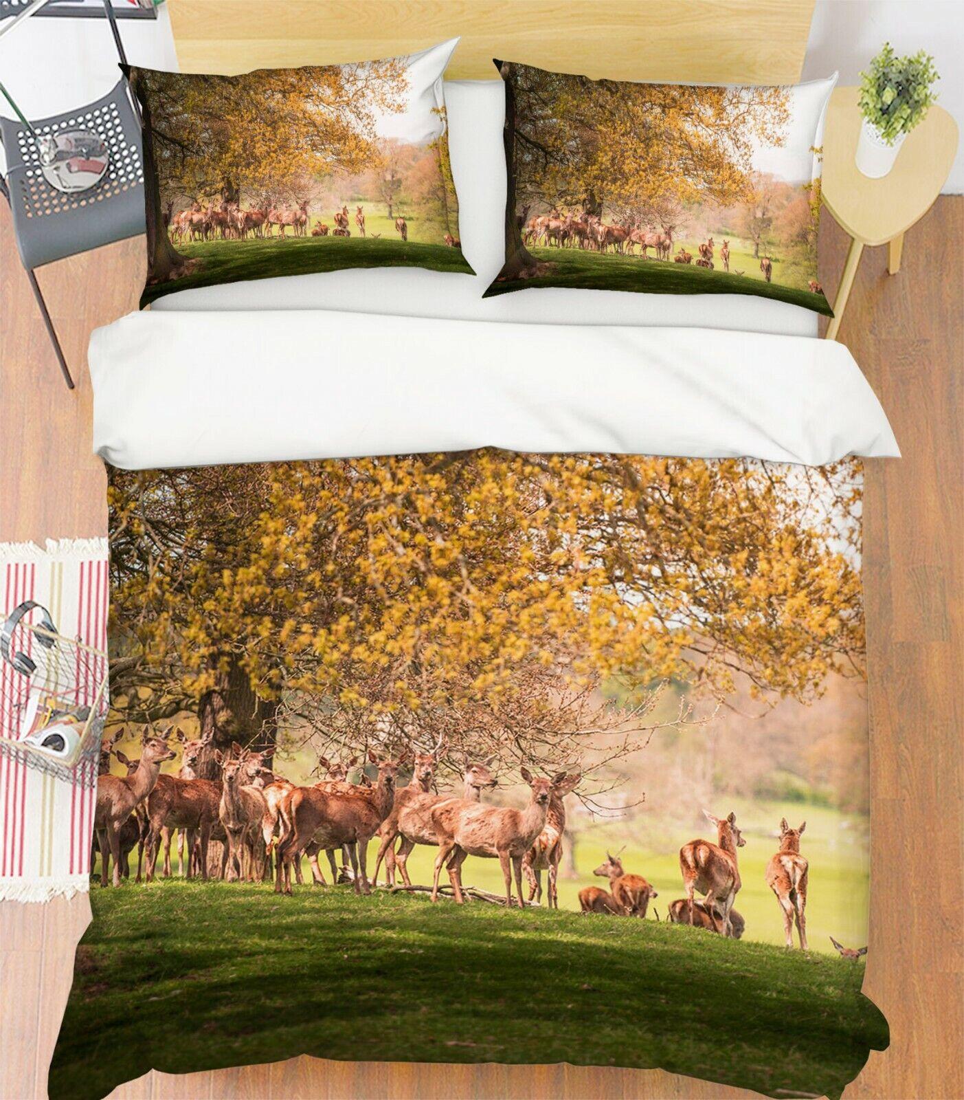 3D Raindeer Coutry P23 Animal Bed Pillowcases Quilt Duvet Cover Set Queen Zoe