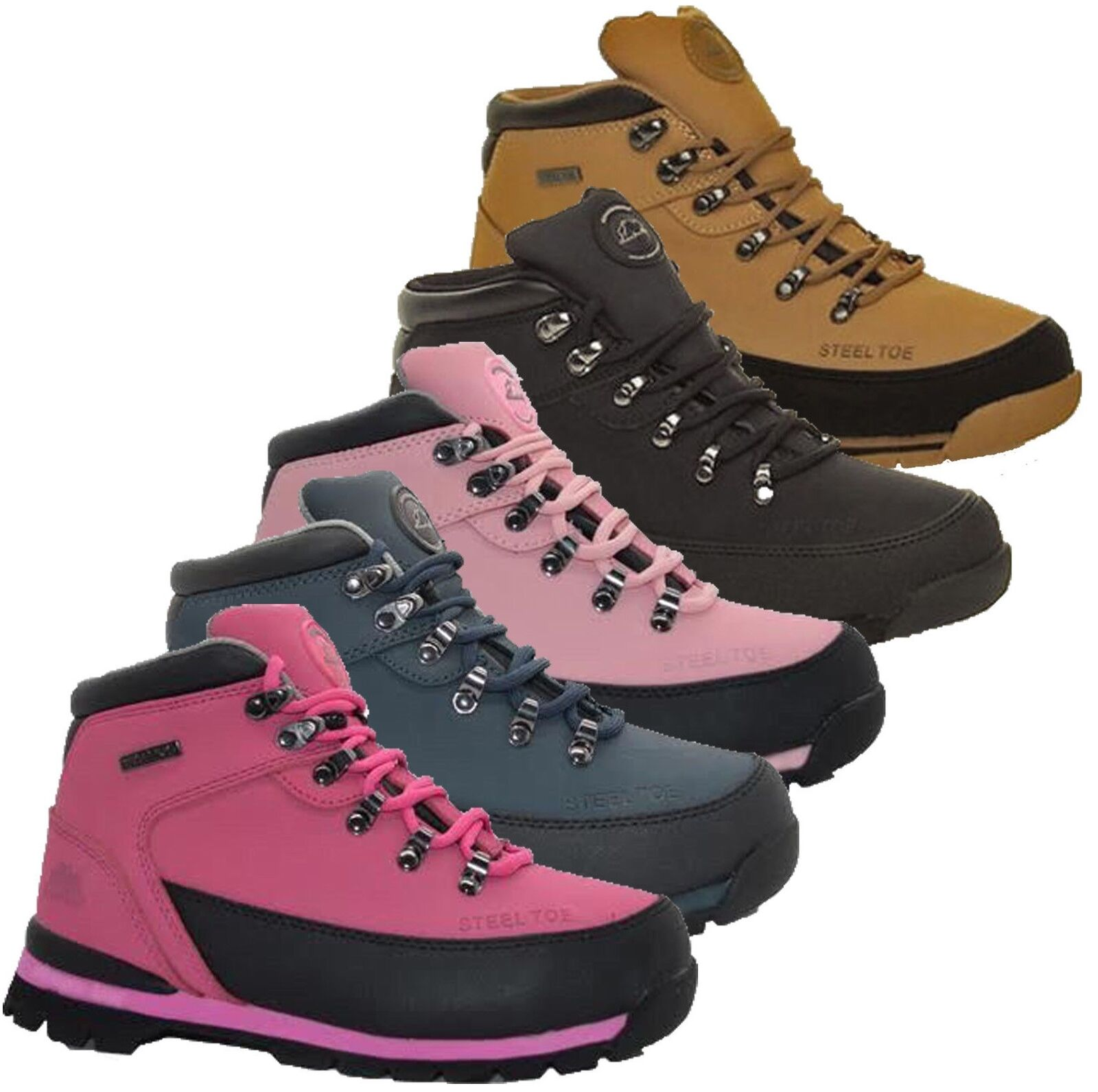 WOMENS SAFETY WORK LADIES GROUNDOWRK STEEL TOE CAPS TRAINERS BOOTS SHOES SIZE