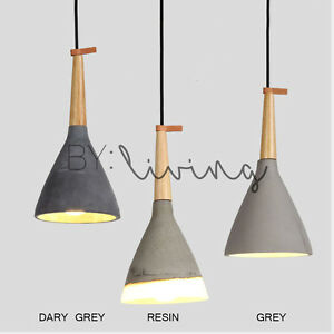 Details About Contemporary Minimal Lighting Wood Timber Bell Raw Concrete Pendant Light Bar