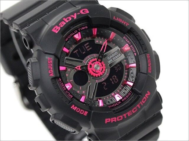 Casio Baby-G Womens Wrist Watch BA111-1A  BA111-1ACR Black Pink New