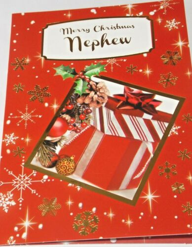 Red Present Theme Nephew Christmas Card Northern Lights Cards