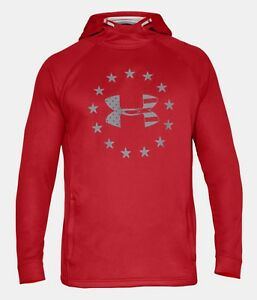 f93f6300 Under Armour Men's Red UA Freedom Tech French Terry Pullover Hoodie ...