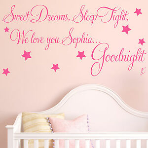 Image Is Loading Baby Wall Sticker Quote Personalised Sweet Dreams
