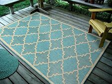"4'5"" x7' Contemporary Geometric Trellis, Ocean BlueIndoor & Outdoor Rug, 1095"