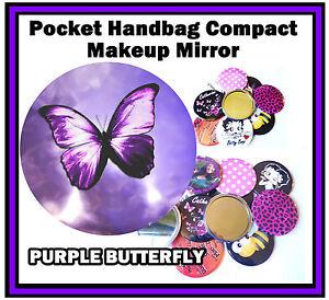 VIOLA-FARFALLA-Divertente-BORSETTA-TASCABILE-Make-Up-Specchietto-compatto