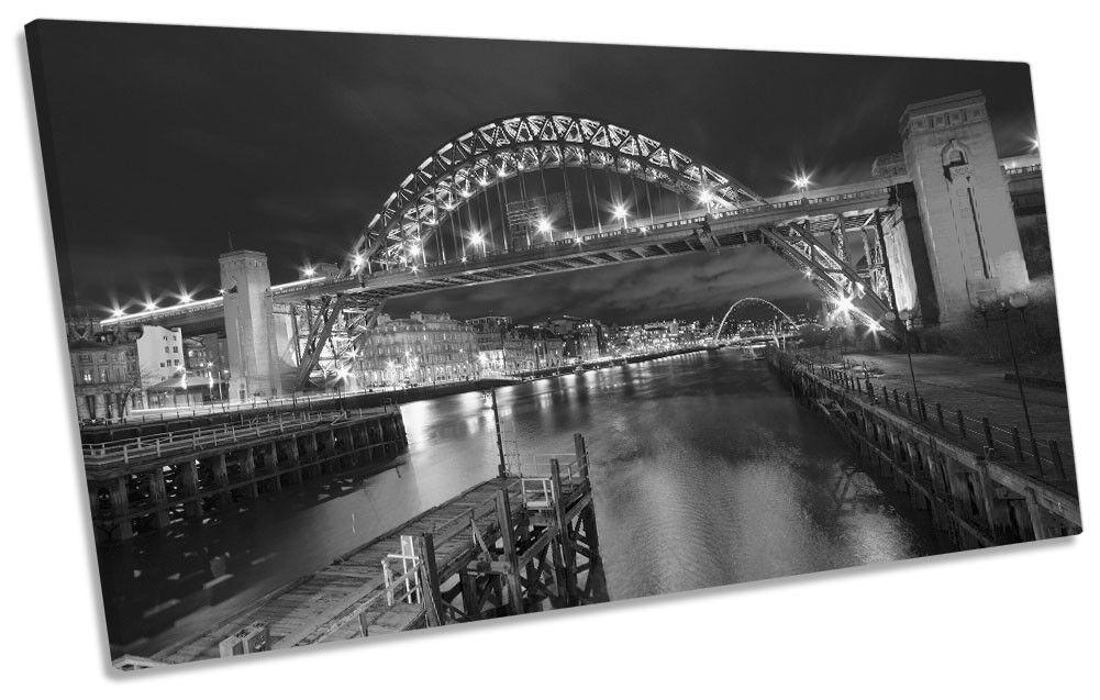 Tyne Bridge Newcastle City B&W Picture PANORAMIC CANVAS WALL ART Print