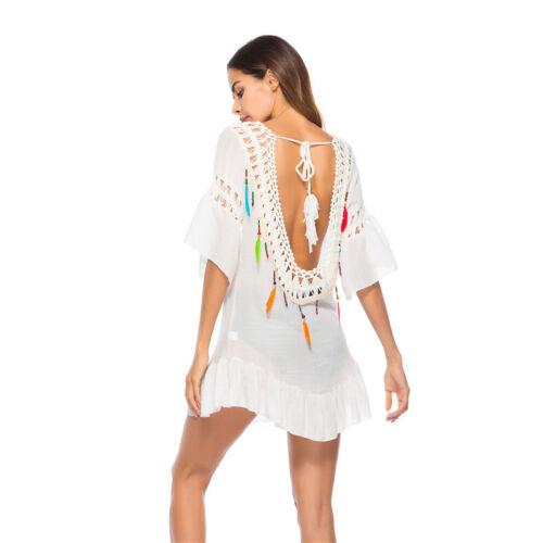 Damen Bademode Bikini Cover Up Strandkleid Rückenfrei Minikleid Strandkleidung