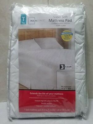 "MAINSTAYS Mattress Protector Bed Cover Pad Super soft 39/'/'x75/'/' TWIN 15/"" deep"