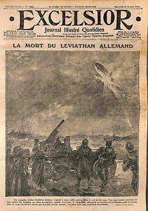 """Fire Incendie Airship Zeppelin Ciel de Revigny Obus Incendiaires Jura WWI 1916 - France - Commentaires du vendeur : """"OCCASION ATTENTION,QUE LA COUVERTURE, PAS LE JOURNAL ENTIER. Just the cover, not newspaper."""" - France"""