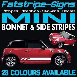 mini graphics bonnet stripes decals stickers one cooper s. Black Bedroom Furniture Sets. Home Design Ideas