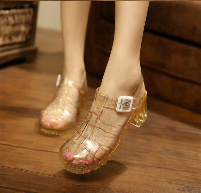 New Womens Transparent Block Chunky Heel Crystal Jelly Sandals Closed Toe Hollow