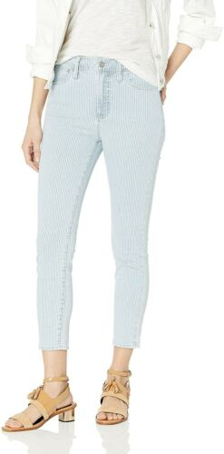 "NEW Women/'s J.Crew Mercantile 11/"" High Rise Fine Stripe Skinny Jean size 28"