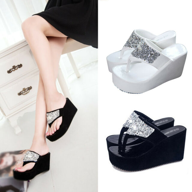 Summer Women Thong Sandals High Heel Rhinestone Platform Wedge Shoes Flip Flops