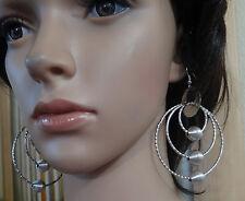 NOI Silver Tone round textured w bead Drop/Dangle linked Hook Fashion Earrings