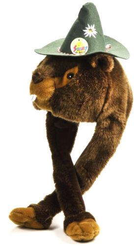 Tier Mütze Plüsch Mütze Murmeltier grüner Hut