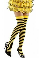 Black Yellow Stripe Bumble Bee Hold Ups Stockings XL Plus Size Fancy Dress 16-20