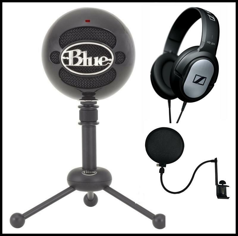 bluee Snowball USB Recording Microphone Sennheiser Studio Headphones + Pop Filter