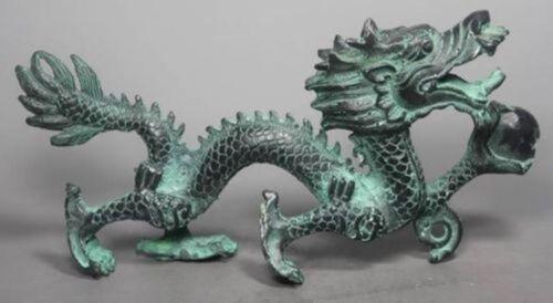 Rare Collection Chinese Folk Old Bronze Handwork Dragon Statue