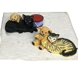 Set of 2 Vintage Lai Cat 1994 Resin Figurines