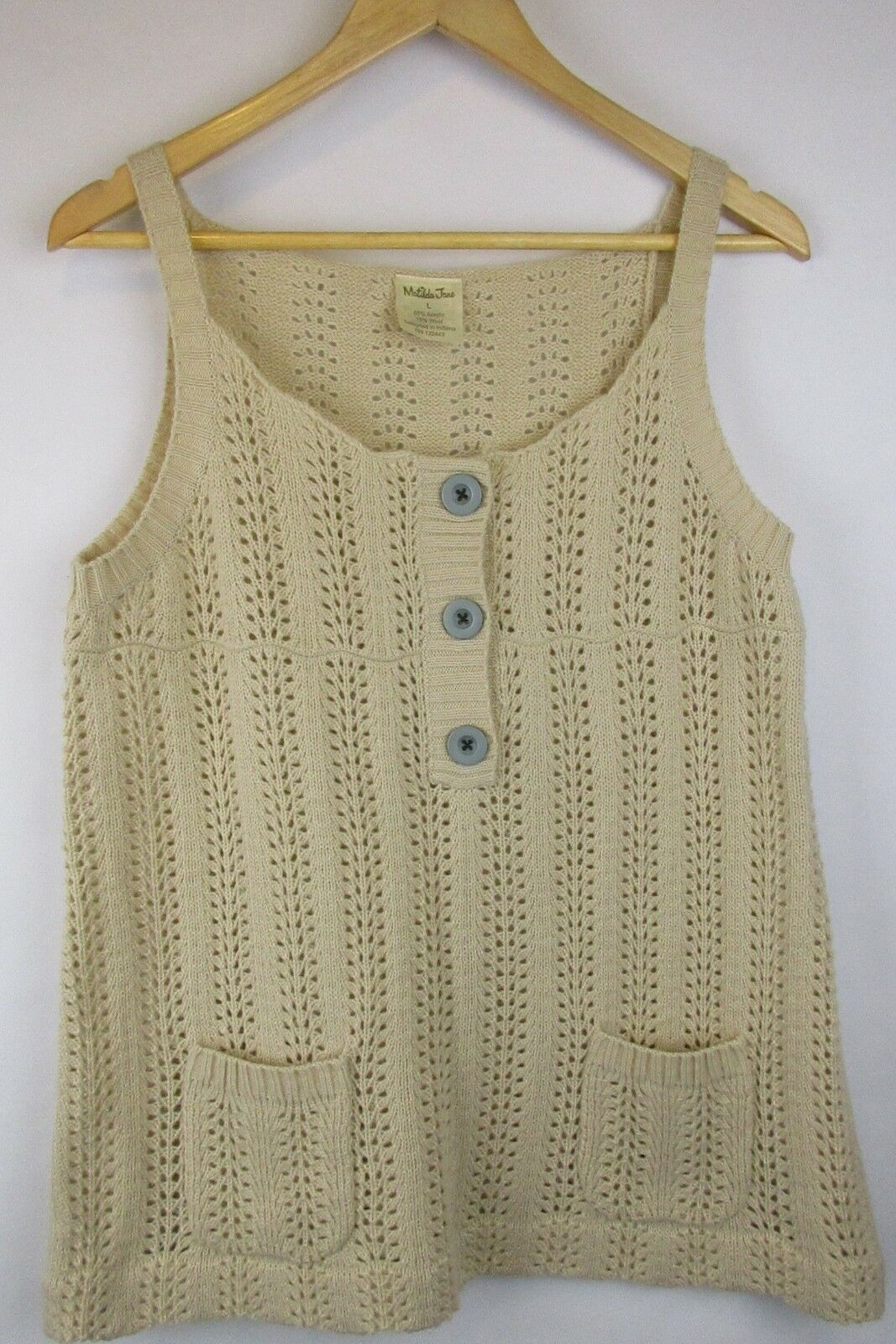 Matilda Jane Field Trip The Vest Sweater Knit Ivory Wool Size Large