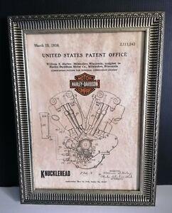 Cadre décoration vintage dépôt de brevet invention moteur  Harley Davidson