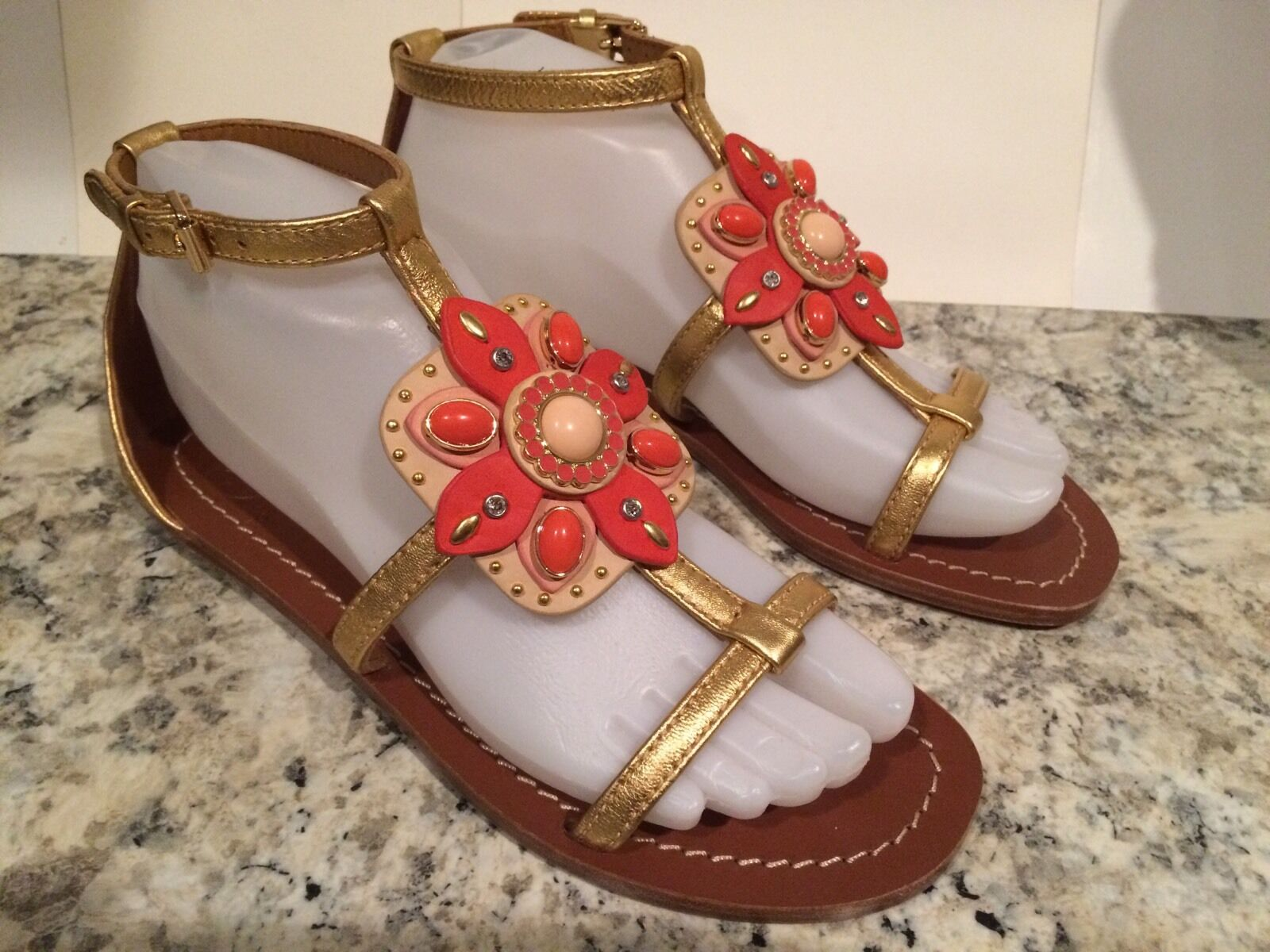 Tory Burch Maura Sandals Flat Leather Leather Leather Jeweled gold Cream Coral 6.5 M New  295 b8253f