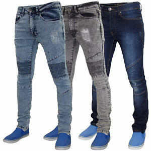 Mens-Jeans-ajustados-Ripped-Super-Stretch-Slim-Fit-Denim-Algodon-Pantalones-Pantalon-De-Motorista