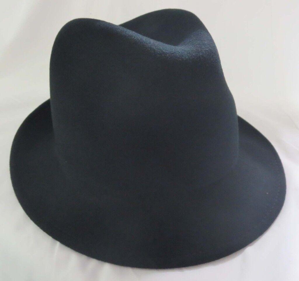 Mens Black Narrow Brim Zoot Trilby Wool Hat Wedding Fedora Made is USA Wedding Hat Cap 712bec
