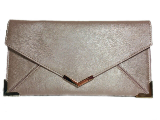 New Designer Faux Leather Clutch Bag Gold Trim Envelope Summer Purse Party Retro
