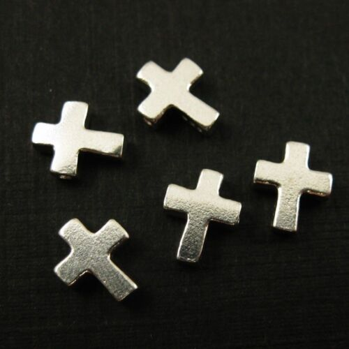 Sterling Silver Tiny Cross Connector Small Cross Crucifix Charm 7mm 3 pcs