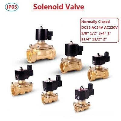 """3//8/""""-2/"""" Brass Waterproof Solenoid Valve Air Water Oil Normally Closed 12//24//220V"""