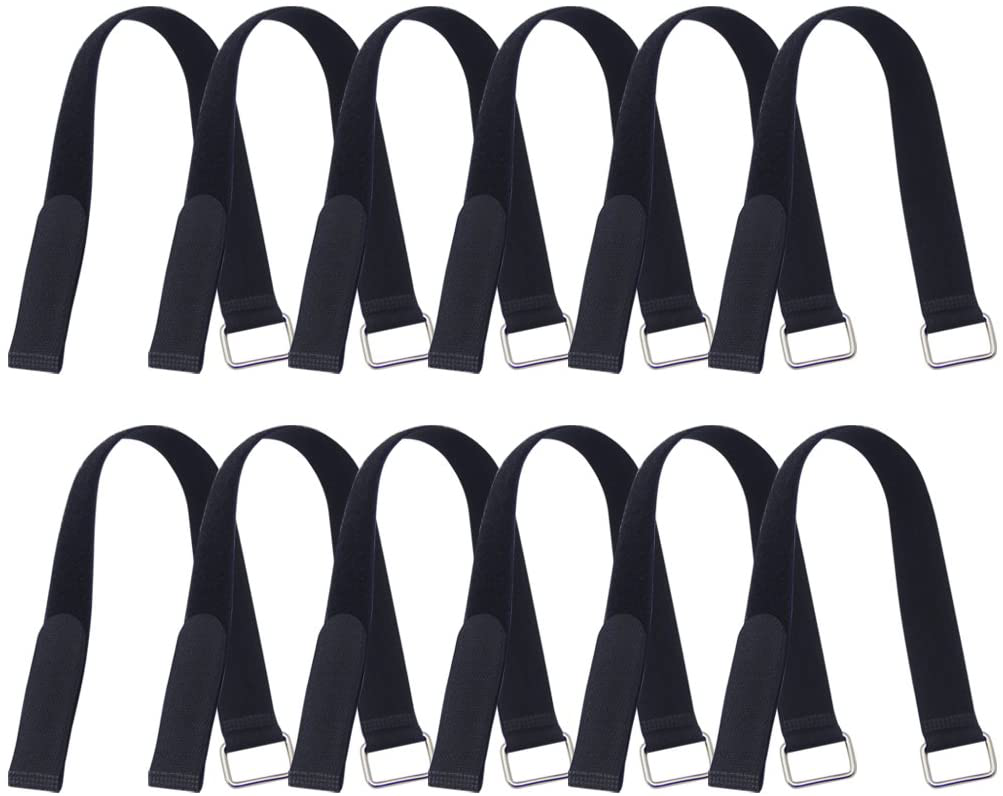 Hanete 12 Pack 24 inch Reusable Fastening Cable Straps Hook and Loop Cable Tie Wraps Cinch Cable Tie Down Straps