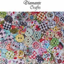 100 15mm Botones De Madera-Random Mix-Craft Tarjeta Coser Scrapbook-Diseño 1