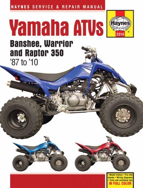 19872010 yamaha banshee warrior raptor 350 atv quad haynes