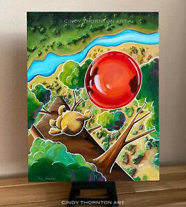 2021 CINDY THORNTON Original Whimsical Bear Balloon Aerial Landscape Painting