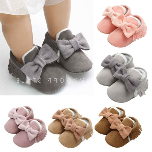 Newborn Toddler Baby Girl Bowknot Cotton Shoes Keep Warm First Walkers Kid Shoes