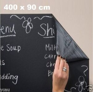 Large-Soft-New-Stick-On-Blackboard-Chalkboard-Sticker-400-x-90cm-Wall-Decal-DIY