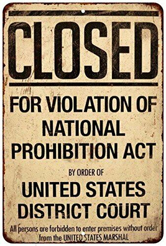 Closed Violation of Prohibition Vintage Reproduction metal sign 8 x 12