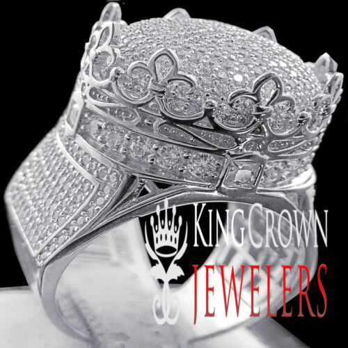 10K White Gold On Silver Crown Shape Mens Ring Round Cut Simulated Diamond Band