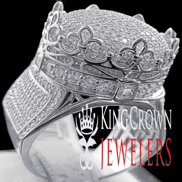 10k Weiss Gold Auf Silber Krone Form Herrenring Rund Schliff Künstlicher Diamant Novel (In) Design;