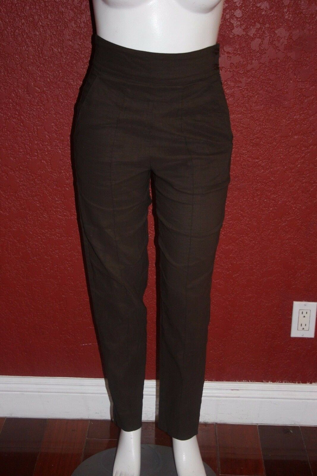 GIGLI  WOMEN LINEN BLEND  PANTS BROWN MADE IN ITALY  SIZE 44