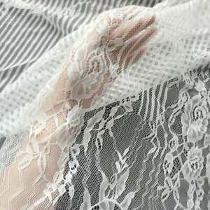 Wedding Lace Fabric 59.1 Width Pearl Beaded Lace Fabric Tulle Mesh Lace Fabric Off White Tulle Fabric Bridal Lace Fabric