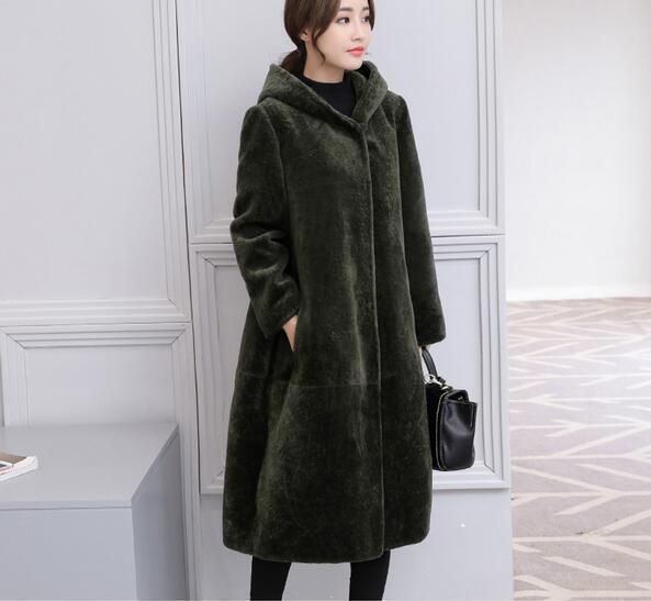 f6784ef3d21 Women Elegant Cashmere Loose Hooded Fur Long Warm Coat Parka pLUS size  Outwear