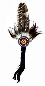 Indianer Fächer Feder Federfächer Tanzfächer TURKEY dunkle Federn Truthahn