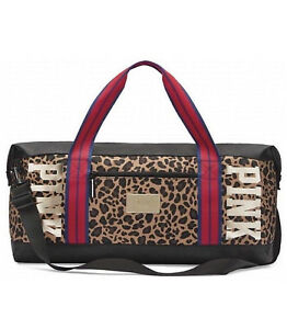 96192147e7d1 NEW VICTORIA S SECRET PINK DUFFLE BAG TRAVEL WEEKENDER GOLD BLING ...