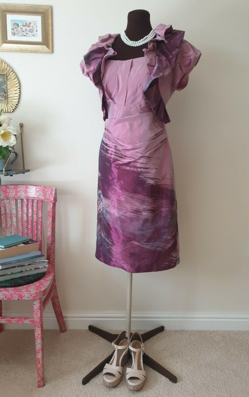 INSPIRATO   UK 14   Pink/Purple Sleeveless Taffeta Dress & Bolero Jacket
