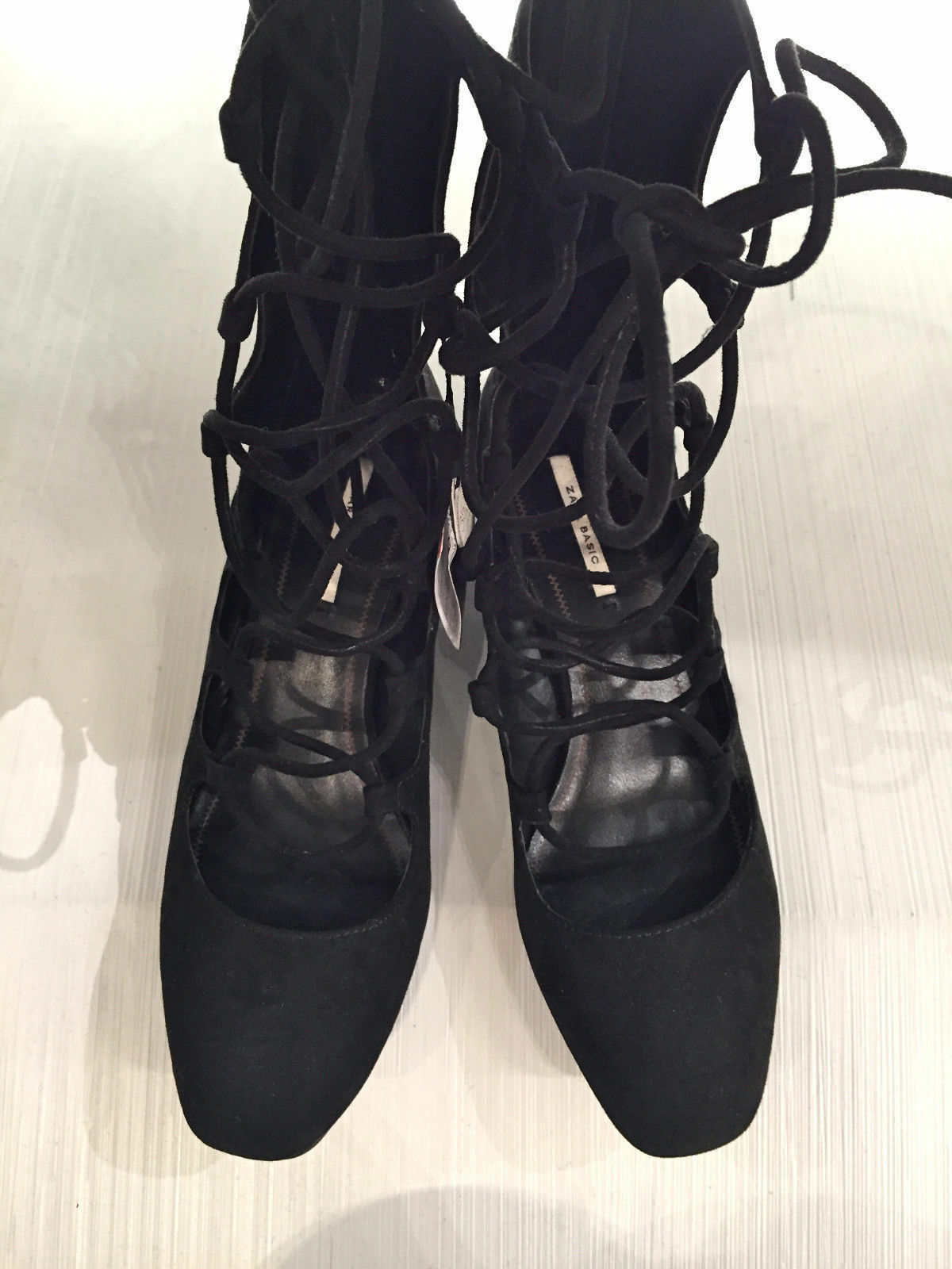 ZARA NEW NEW NEW WOMAN LACE-UP HEELED schuhe schwarz EU 37 UK 4 US 6.5 Ref. 6248 001 311f61