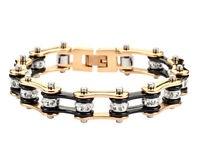 Women's Stainless Steel Black Gold Bling Bike Chain Bracelet Usa Seller