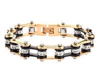 Women's Stainless Steel Black Gold Bling Bike Chain Bracelet Usa Seller