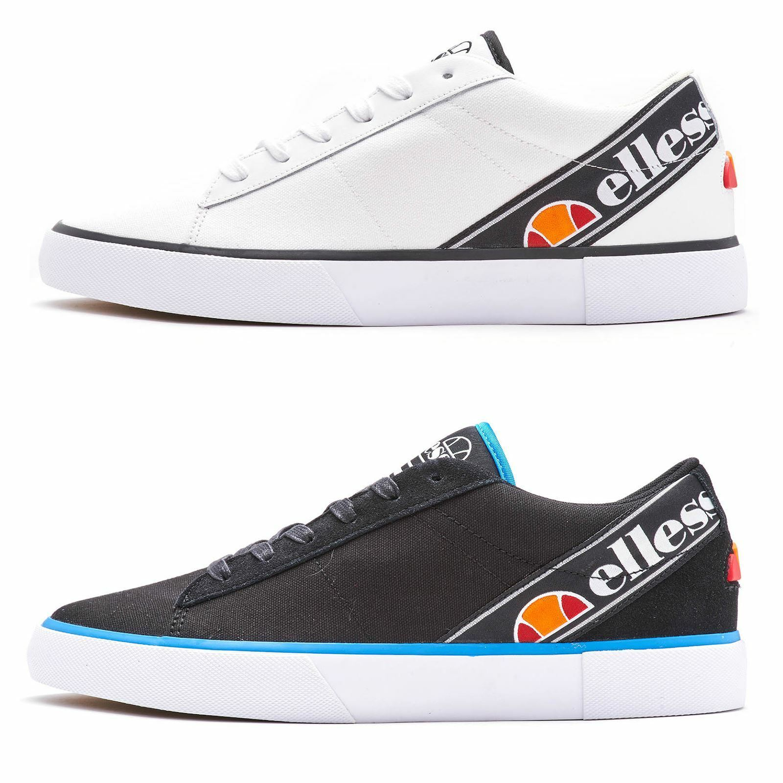 Ellesse Otsuni & Massimo Canvas & Leather Trainers in White & Navy bluee